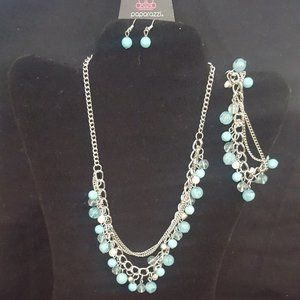 Paparazzi Blue and Silver Necklace/Bracelet Set